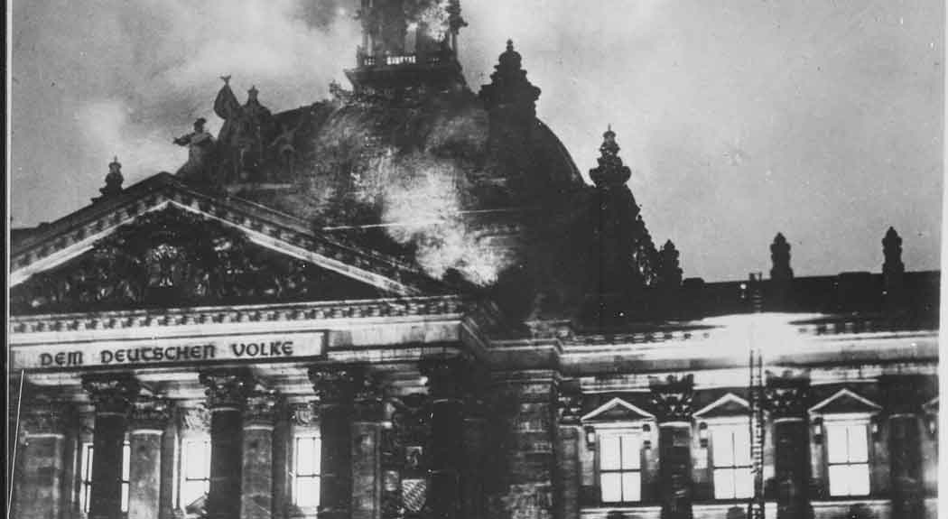A depiction of the 1933 Reichstag Fire