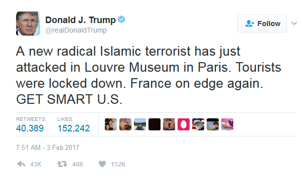 Donald Trump Tweet from Feb 3 2017