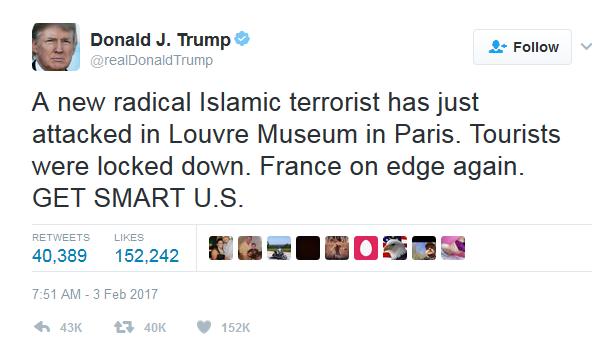 Donald Trump Tweet from Feb 3 2017