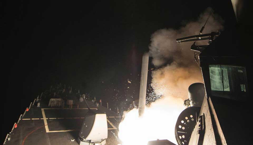 Missiles launch towards Syria on board of USS Porter