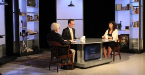 "G. Wayne Miller, Jim Ludes interview Narges Bajoghli on set of ""Story in the Public Square"""