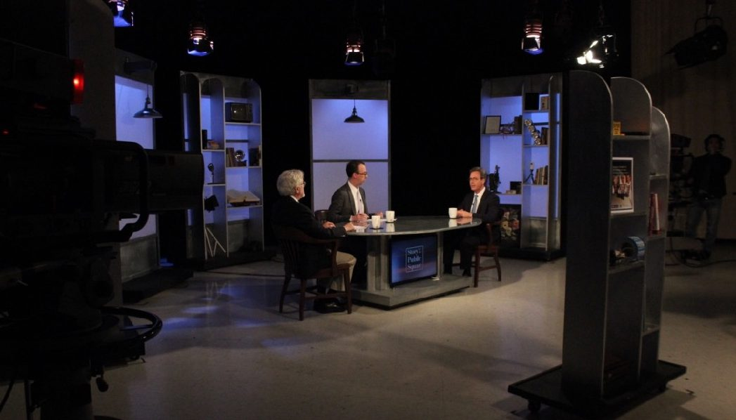 G. Wayne Miller, Jim Ludes speak with Anthony Leiserowitz on set of Story in the Public Square