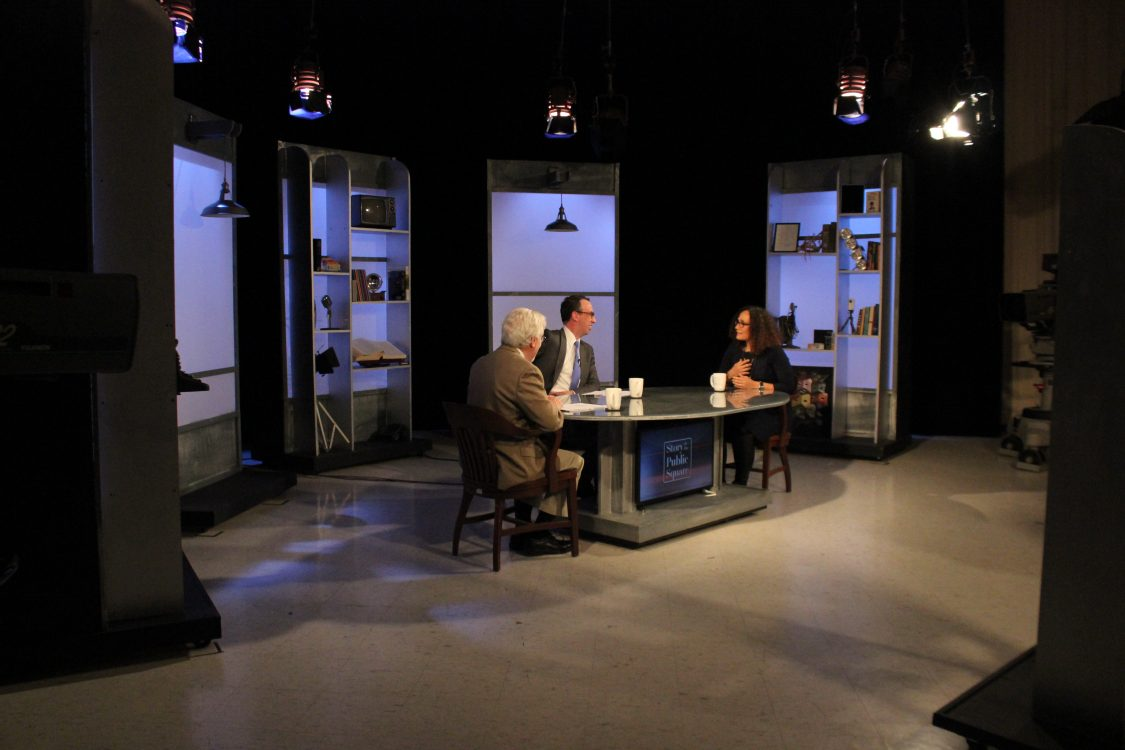"Tricia Rose sit with Jim Ludes and G. Wayne Miller on set of ""Story in the Public Square"""