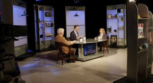 "G. Wayne Miller and Jim Ludes interview Karen Tramontano on set of ""Story in the Public Square"""