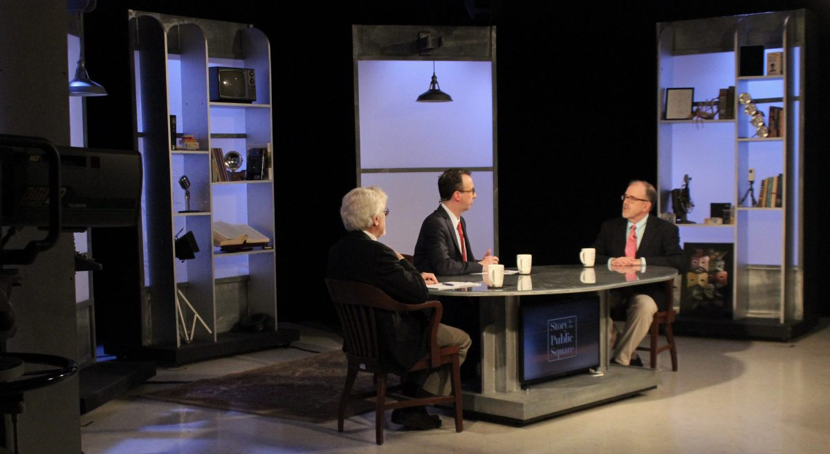 "John Aloysius Farrell sits with Jim Ludes and g. Wayne Miller on set of ""Story in the Public Square"""