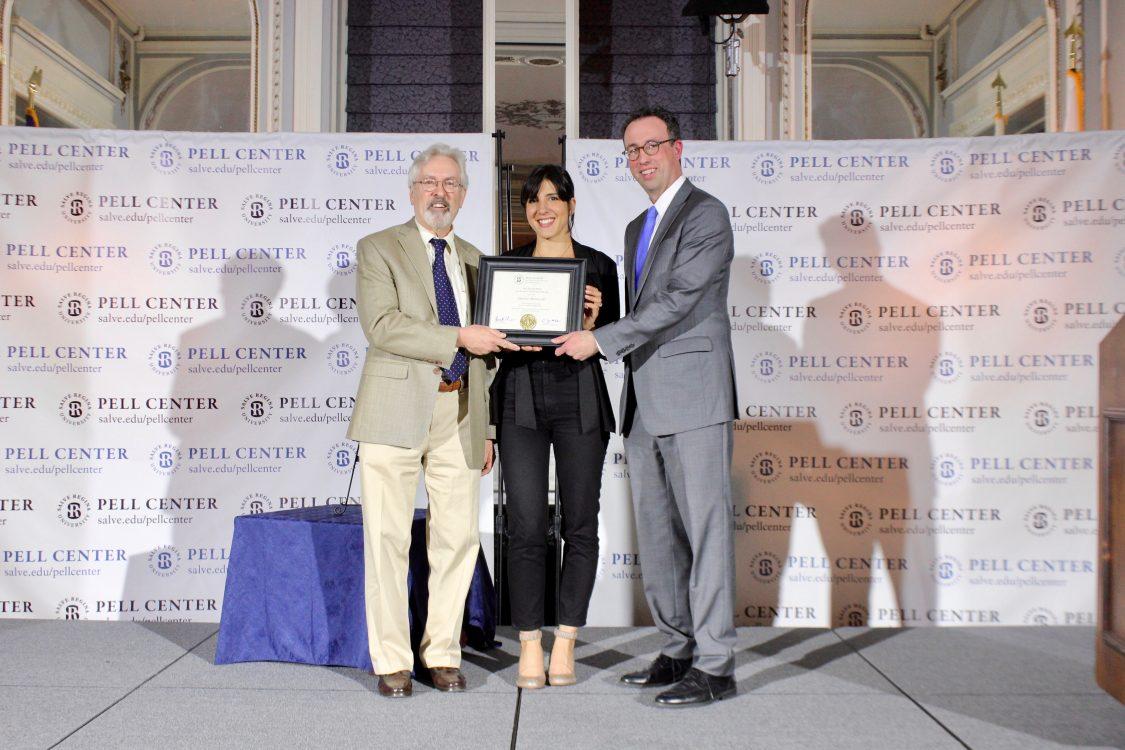 Daphe Matziaraki accepts Pell Center Prize for Story in the Public Square