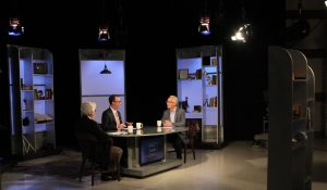 "Jim Ludes, G. Wayne Miller interview Butch Rovan on set of ""Story in the Public Square"""