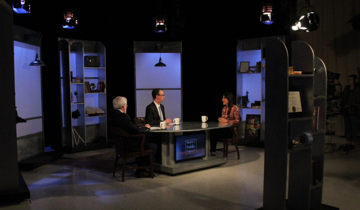 Jim Ludes, G. Wayne Miller interview Daphne Matziaraki on set of Story in the Public Square