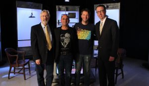"Jeff Sparr and Matt Kaplan join Jim Ludes and G. Wayne Miller on set of ""Story in the Public Square"""