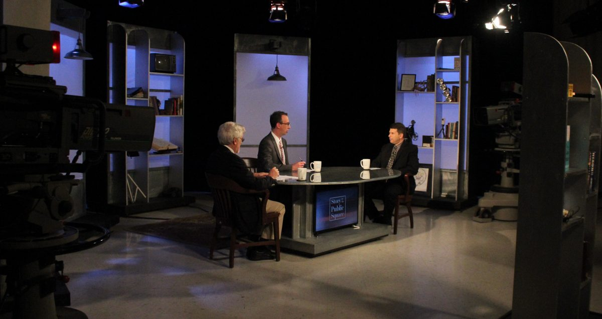 "Daniel Drezner joins Jim Ludes and G. Wayne Miller on set of ""Story in the Public Square"""