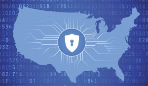 Map of the United States with large lock in the center to represent cyber security