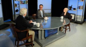"Sunshine Menezes on set at ""Story in the Public Square"" with hosts Jim Ludes and G. Wayne Miller"